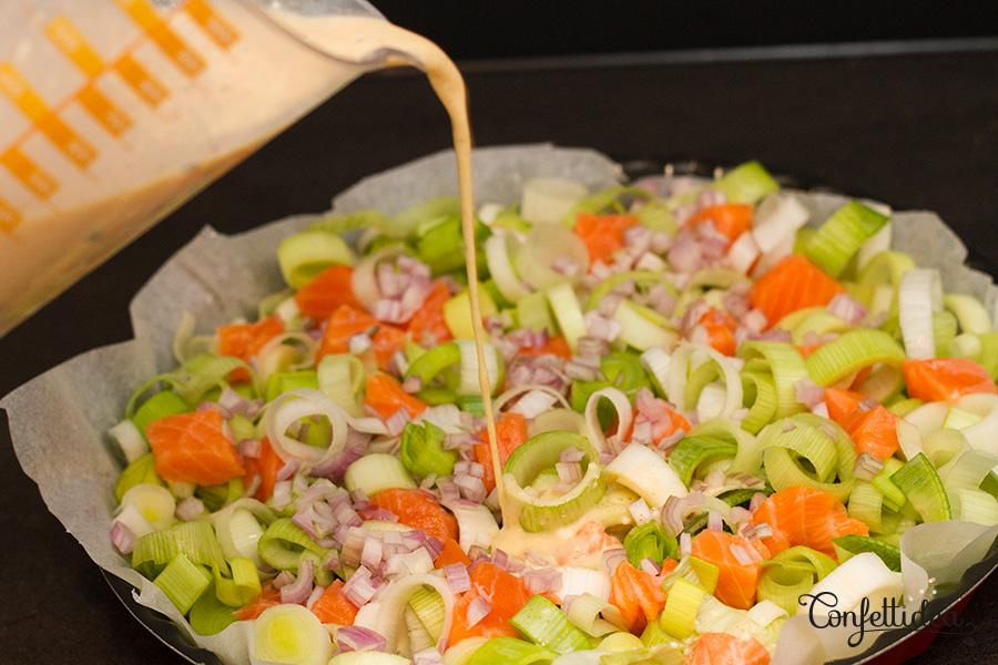 Tarte sans pâte aux poireaux et au saumon